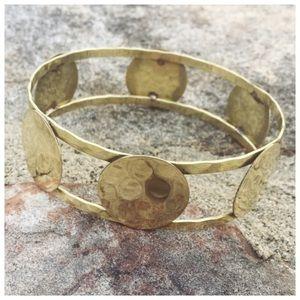 Brass Circle Geometric Bangle Bracelet